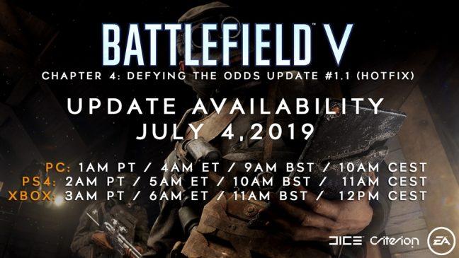 Battlefield V Hotfix Update erscheint am 04. Juli 2019